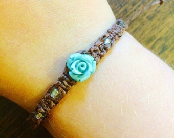 Brown Macrame Hemp Bracelet made with a Turquoise Rose Charm and Clear Glass Beads