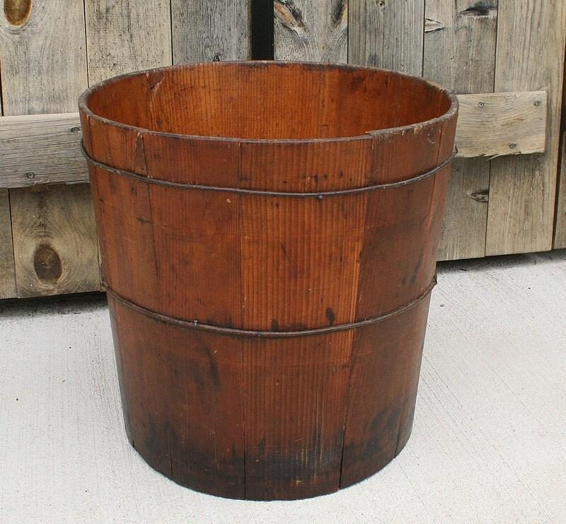 Wood Grain Storage : Antique wood bucket grain storage farm by pastclassics