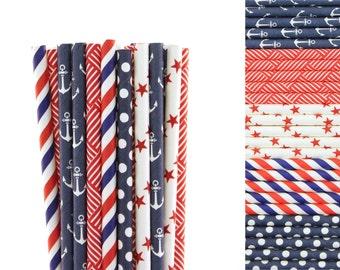 Navy Blue and Red Paper Straw Mix-Navy Straws-Anchor Straws-4th of July Straws-Basket Weave Straws-Star Straws-Striped-Polka Dot Straws
