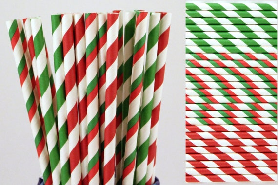 Christmas Red and Green Paper Straw Mix-Holiday Striped Paper Straws-Hot Chocolate bar- CHRISTMAS PARTY STRAW-Green Red Party Paper Straw
