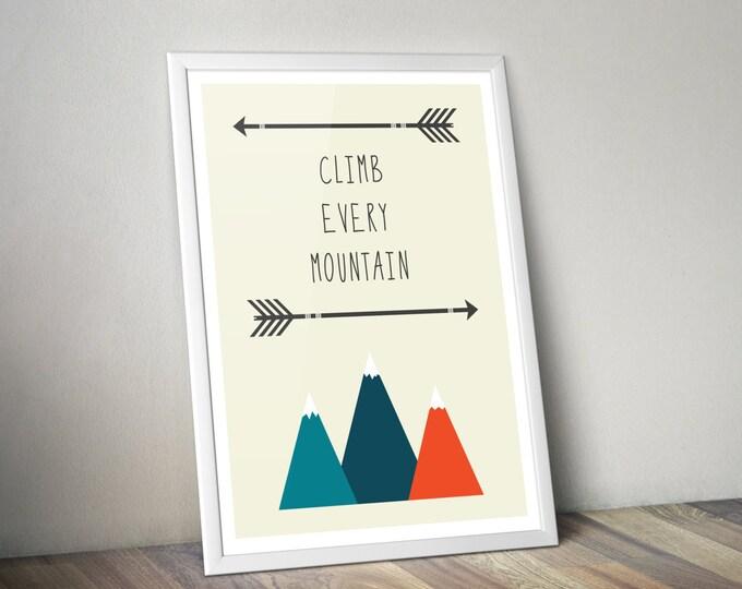 Nursery art print, baby print, nursery print, nursery art, Climb Every Mountain, baby room, kids room, nursery decor