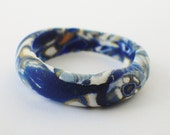 Abstract blue band ring - sized to order