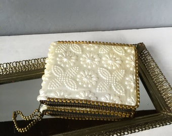 Vintage White Beaded Wallet, New