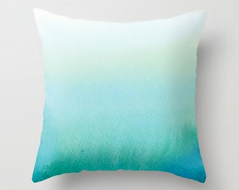 Watercolor Pillow, Decorative Pillows, Throw Pillow, Turquoise Pillow Cover, Tidy Home, Home Decor, 3 sizes, Teal Decor, Turquoise Decor