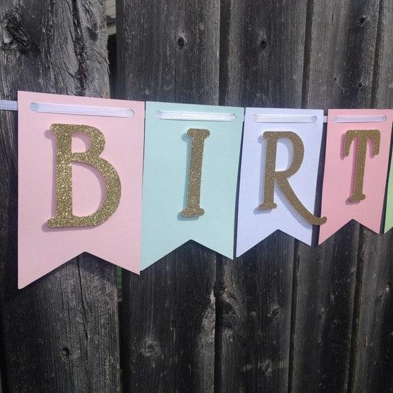 Pink & Gold glittler banner, Birthday Banner, Happy Birthday Banner, Happy Birthday Girl Banner