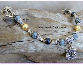 Angel cat jewelry, cat sympathy bracelet, cat sympathy jewelry; cat angel bracelet, angel harp cat bracelet, death of cat gifts