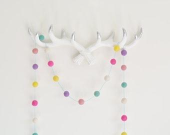Pastel Felt Ball Garland, Girls Room Bunting, Pink Mint Nursery, Pom Pom Garland, Baby Shower Gift, Photo Prop, Pink Girl Decor
