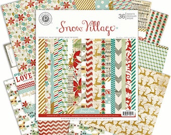 Pink Paislee Snow Village Collection, 6 X 6 Paper Pad, Christmas/Holiday Scrapbook