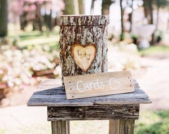 Tree Stump Card Box ~ Real Log Oak Wood