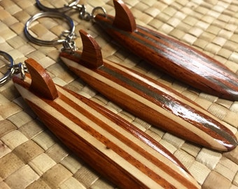 Wood Surfboard Keychain