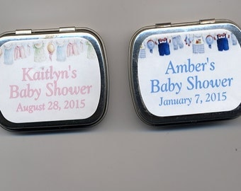 6 Baby Shower party favor mint tins unfilled with personalized stickers