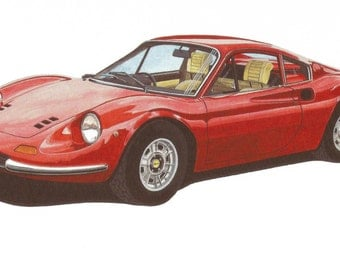 LIMITED EDITION Print Ferrari 246 GT Dino from an original painting by Malcolm Davies