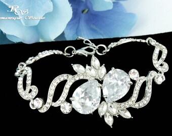Wedding bracelet Cubic zirconia crystal bridal bracelet CZ bridesmaid bracelet wedding jewelry bridal jewelry wedding accessories B0155