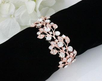 ROSE GOLD wedding bracelet rhinestone bracelet cuff bridal bracelet bridesmaid bracelet crystal bracelet bridal jewelry B0109RG