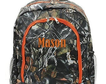 Personalized Backpack Monogrammed Bookbag Natural Camo Orange Camouflage Large Canvas Kids Tote School Bag Embroidered Monogram Name