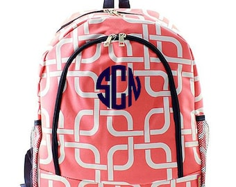 Personalized Backpack Monogrammed Bookbag Nautical Link Coral Orange Pink Girl Large Canvas Kids Tote School Bag Embroidered Monogram Name