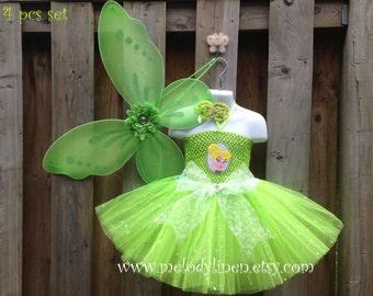 Tinker Bell tutu dress Tinker Bell headband Tinker Bell birthday dress outfit Tinker Bell costume Tinker Bell iron on patch green tutu