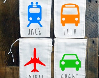 Things that Go! Personalized Party Favor Muslin Bags {set of 10}