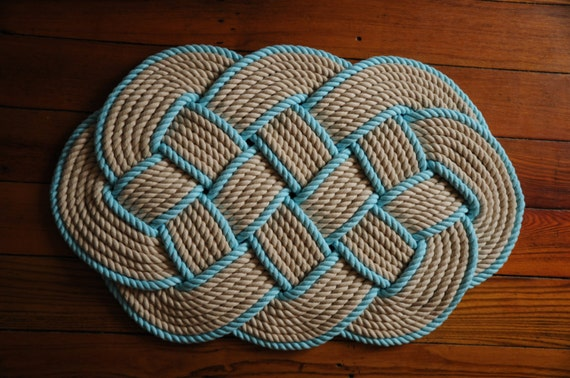 Cotton rope rug khaki and aqua rope rug bath mat by oyknot for Rope bath mat