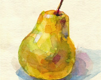 Watercolor pear painting print, fruit painting, still life. Yellow pear art for kitchen