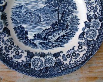"Set of 3 vintage English small dark blue transferware plates. Enoch Wedgwood Tunstall. ""Lochs of Scotland"". Loch Linnhe. Blue transferware"