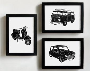 Classic vehicles prints - man cave art, gift for man, petrol head gift