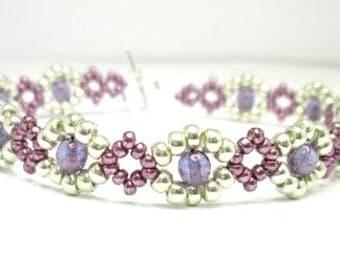 Pink purple and silver dainty beadwoven bracelet, seed bead bracelet, summer bracelet, spring jewelry, BR019
