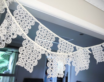 HANDMADE BUNTING GARLAND - Vintage Doily Lace