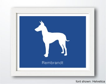 Personalized Manchester Terrier Silhouette Print with Custom Name (Cropped Ears)