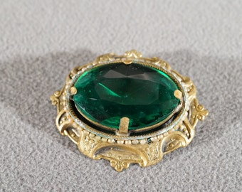 Vintage Art Deco Style Brass Large Green Glass Stone Oval Jewerly Pin Brooch     K