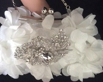 White Floral Wedding Bag, White Clutch Bag, Wedding Clutch Bag