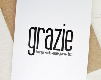 Grazie card thank you card many languages greeting card danke tack minimalist card