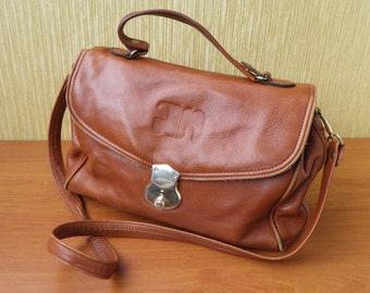 Vintage Brown Leather Medium Size Hand Bag Shoulder Strap Purse