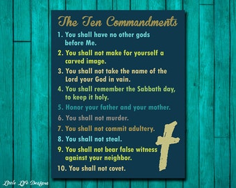 Ten Commandments Wall Art. Christian Wall Decor. Scripture. Bible Verse. 10 Commandments. Christian Wall Art. Christian Home Decor. Church