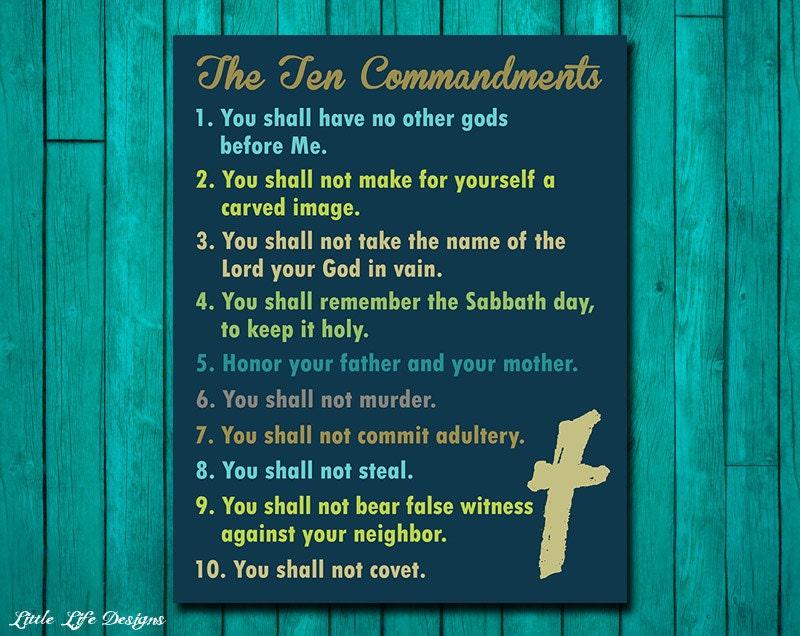 Ten Commandments Wall Art. Christian Wall Decor. Scripture. Bible Verse. 10 Commandments