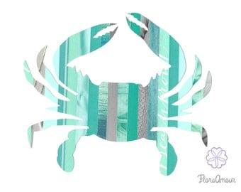 Aqua Crab 8.5 x11 PRINT, Maryland Art, Pink Crab, FloraAmour Original Print