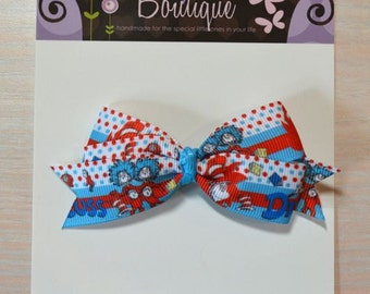 Boutique Style Hair Bow - Dr. Seuss, Thing 1 Thing 2