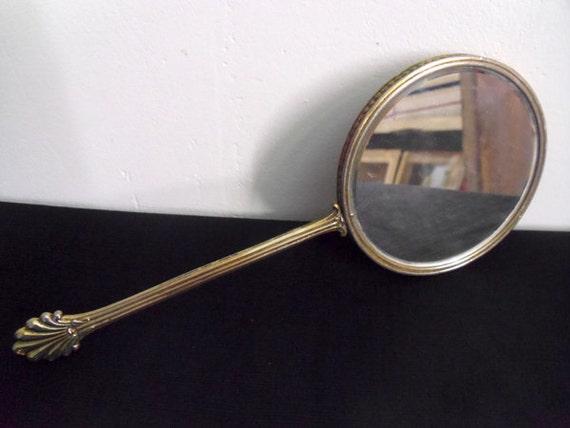 Antique french hand mirror round with metal frame and long for Long antique mirror