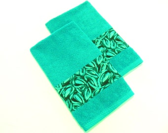 teal hand towels decorative bathroom towels modern set of 2 - Decorative Hand Towels