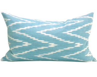 Kasari Ikat lumbar pillow cover in Turquoise
