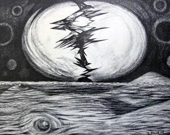 Finnish epic Kalevala illustration by Estonian Artist Jüri Arrak - Estonian Art - Printed Art - Charcoal drawing - The creation of the world