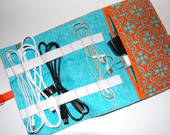 Travel Cord Bag, Cable Organizer, Charger Organizer, Cable Carrier, Cord Storage, Cord Travel Bag, Cable Bag, Cord Caddy, Teal, Orange