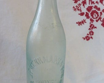 Thick Green Glass Antique Bottle  //  Washington D.C. Embossed on the Front  //  J.F. Herrmann & Son  // Seams Stop Low on Neck  //  Bubbles