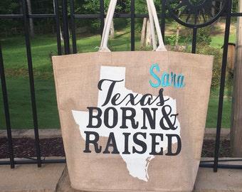 "Mud Pie Texas ""Born & Raised"" Jute Tote"