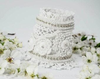 SALE!!!   White Crochet Beaded Bracelet Cuff. Crochet Jewelry. Crochet White Bracelet. wedding Bracelet Cuff.