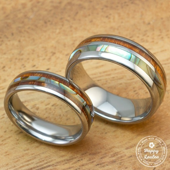 tungsten carbide wedding band set with abalone by happylaulea