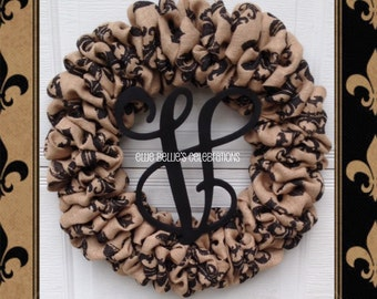 Fleur de lis Burlap Monogram Initial Wreath