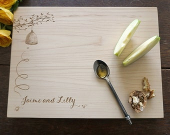 The Beekeeper's Daughter Getting Married Custom Cutting Board Wedding Present Bridal Shower Gift Honey Cheeseboard Kitchen Decor