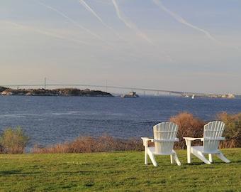 Adirondack Chairs Photograph. Newport Rhode Island Castle Hill RI Coastal Home Decor Nautical Wedding Anniversary Gift Two Adirondack Chairs
