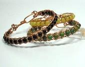 Copper Wrapped Gemstone Bracelet  Men's Unisex Woven Wire Bracelet
